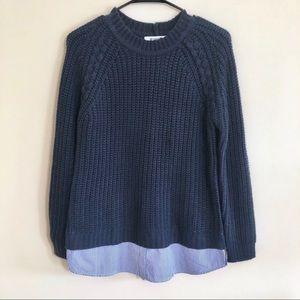 BB Dakota Navy Sable Layered Sweater Sz M